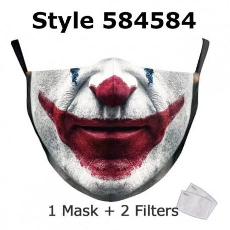 NADANBAO Halloween drôle Joker visage impression masques enfants lavable tissu masques femmes adulte visage couverture réutilisa