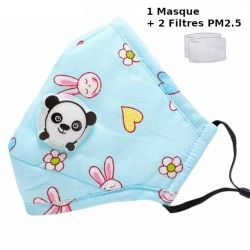 Tcare PM2.5 enfants bouche masque Valve respiratoire dessin animé Panda masque chaud masque pour enfants de 3-15 ans