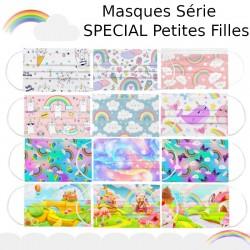 50pcs masque pour enfants masque jetable mignon arc-en-ciel impression enfant filles masque masque industriel 3Ply boucle d'orei