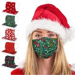 50 pièces mélange de couleurs masque de noël adulte jetable masque de bouche unisexe en plein air 3 couches boucles d'oreille ma