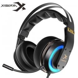 XIBERIA T19 casque USB 3D Surround son casque de jeu avec Microphone actif anti-bruit LED pour ordinateur PC Gamer